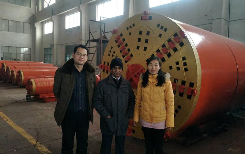 Indian customer visit us to discuss NPD1500 pipe jacking machine ,  Jan . 2019